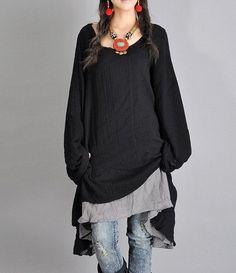 Schwarz Leinen Hemd Baumwolle Hemd lose Bluse von prettyforest22, $68.00