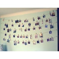 This is an inspiring, memorable way for an idea to do to your room.  The supplies you will need is fishing line, photos, and laundry clips. Hang the fishing wire against a clear wall, then hand the photos on the fishing wire with using the laundry clips. I hope you'll love this!