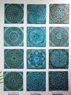ceramic wall art Suzani wall art tile in design turquoise, by G. Vega CeramicaSuzani wall art tile in design turquoise, by G. Ceramic Wall Art, Tile Art, Ceramic Painting, Dot Painting, Wall Tile, Turquoise Tile, Cerámica Ideas, Outdoor Wall Art, Sculptures Céramiques