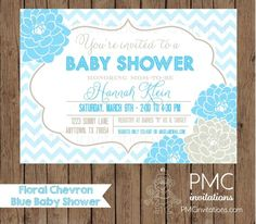 Custom Printed Blue Chevron Floral Baby Shower Invitations - 1.00 each with envelope