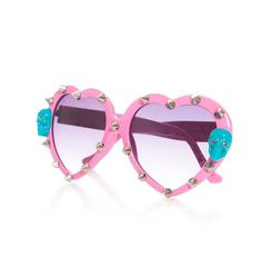 Heart shaped lolita sunglasses with silver spikes, skulls with crystal eyes, one size. by Torture Couture