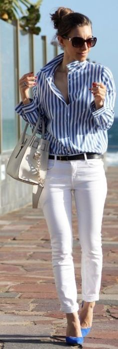 Spring Street Style - Striped Button Down - White Jeans - Blue Pumps #perfect