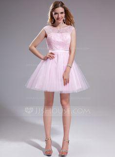 Vestidos princesa/ Formato A Decote redondo Curto/Mini Tule Charmeuse Renda Vestido de baile com Pregueado Bordado Lantejoulas Curvado (018025270)