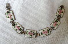 Guilloche Enamel Bracelet with Earrings Sterling by OurBoudoir
