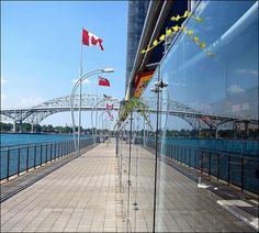 A view of the Blue Water Bridges from the Point Edward Casino in Sarnia. Port Huron, Lake Huron, The St, Bridges, Ontario, Hamilton, Michigan, Canada, River