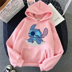 Lilo Stitch Hoodie Pullovers Long Sleeves Pullovers Lovely Kawaii Casual Tops O Neck Women's Hooded Sweatshirt Cute Disney Outfits, Cute Lazy Outfits, Teenage Outfits, Teen Fashion Outfits, Grunge Outfits, Emo Outfits, Punk Fashion, Lolita Fashion, Grunge Dress