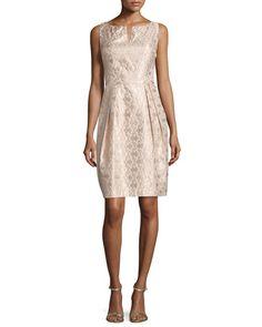 TBHYS Kay Unger New York Sleeveless Pleated-Skirt Cocktail Dress, Blush