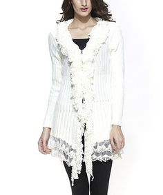 White Ribbed Lace Ruffle Wool-Blend Cardigan by Simply Couture #zulily #zulilyfinds
