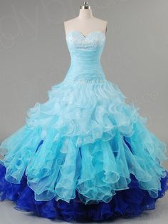 blue quinceanera dresses  | ... Gown Sweetheart Chapel Train Organza Blue Quinceanera Dress Pqlbpr2493