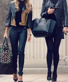 Leather jackets, black rights, booties, black heels and large purses