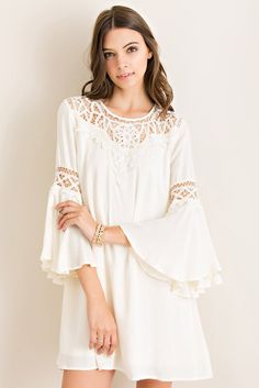 Angelica Bell Sleeve Dress in off white