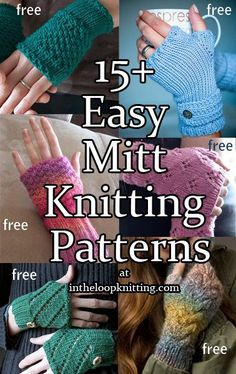 Mitts Knitting Patterns Knitting patterns for easy fingerless mitts and arm warmers. Most patterns are free.Knitting patterns for easy fingerless mitts and arm warmers. Most patterns are free. Beginner Knitting Patterns, Easy Knitting, Knitting Stitches, Knitting Socks, Fingerless Gloves Knitted, Crochet Gloves, Knit Mittens, Snood Pattern, Mittens Pattern