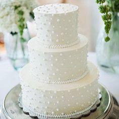 Swiss Dot Wedding Cake   Scattered fondant beads on European buttercream evoke the feel of delicate Swiss dot fabric.   SouthernLiving.com