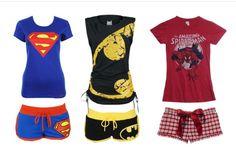 Cute superhero pajamas. Not quite sure why superman looks prego