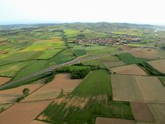 Patchwork of fields in the Emporda region viewed from a hot-air balloon flight.