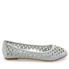 Crunch-42 Silver Glitter Perforated Ballet Flats - Traffic Shoe