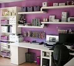 Scentsy home office... Love the purple wall!