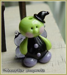 Witch Fairy Halloween Lampwork Bead by moonrakerbeads on Etsy, $12.50