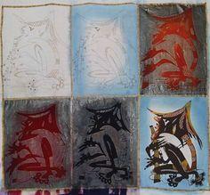 Fasi di realizzazione del BATIK - Dopo aver fatto il disegno a matita sul tessuto, prima di tingere si applica la cera diluita, stendendola anche a pennello, sulle zone che non si vogliono colorare quindi si immerge il tessuto nel colore. Quando il tessuto è asciutto, se lo si desidera, si può applicare la cera anche in altre zone e immergere nuovamente il tessuto in un secondo colore. Si parte con i colori più chiari e via via si passa ai colori più scuri.