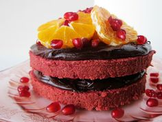 Fragrant Vanilla Cake: Raw Red Velvet Cake with Citrus and Pomegranate