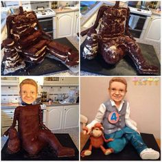 British boy Alfie Rose celebrated his fourth birthday in style - with a life-sized replica chocolate sponge cake of himself. His mom Chantelle Rose was amazed by local baker Lara Clarke's delicious doppelganger. Fondant Flower Cake, Fondant Cakes, Fondant Bow, Cake Decorating Techniques, Cake Decorating Tutorials, Chocolate Sponge Cake, Chocolate Fondant, Modeling Chocolate, Diy Unicorn Cake
