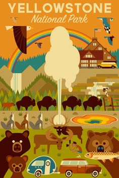 Yellowstone National Park, Wyoming - Geometric - Lantern Press Artwork