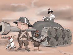 This was taken back in my days fighting in the great Chicken War. #chicken #battle #war #tank #art #cartoon #maddog