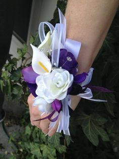 2 pc Purple and White Real Touch Silk Wrist Corsage by mtfloral, $36.00