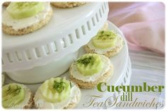 Cucumber Dill Tea Sandwiches  1 8 oz. package cream cheese, softened  1 Tablespoon mayonnaise  1/4 teaspoon dill weed  1/4 teaspoon real salt  2-3 cucumbers, washed, peeled, sliced  1 loaf sandwich bread  Extra dill for garnish