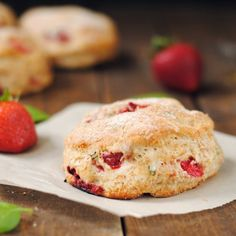 Fresh whole wheat scones with strawberries and basil.