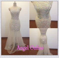 sexy prom dresses.white prom dresses.mermaid prom dresses.open back prom dresses.crystal prom dresses.elegant evening dresses.formal dresses by Angelonlinedress on Etsy