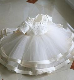 Browse Wonderful collection Girly Shop Made To Order - High Quality Round Neckline Pearl Applique Short Sleeve Big Bow Back Little Girl Party Dress Fr Girls Party Dress, Toddler Girl Dresses, Birthday Dresses, Little Girl Dresses, Girls Dresses, Baby Girl White Dress, Party Dresses, Wedding Dresses, Christening Outfit