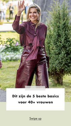 Fashion | style | buy | basics | fashionchick | maxima | queen | netherlands | bordaux | blouse | pants | leather | woman | blonde | streetstyle