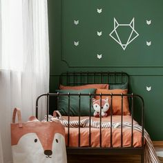 Foxes stickers for wall decoration or every surface - very easy to installSet of 40 adhesive foxesSize x x 8 cm)Available in different colour Very easy to install For every surface Imagined & made in France Bedroom Green, Baby Bedroom, Baby Boy Rooms, Kids Bedroom, Vintage Boys Bedrooms, Green Kids Rooms, Brick Room, Green Accent Walls, Accent Wall Bedroom