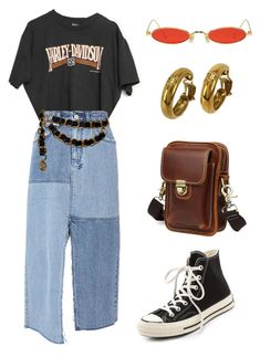 """Untitled #1980"" by lucyshenton ❤ liked on Polyvore featuring Gentle Monster, Harley-Davidson, Chanel, Ksubi and Converse"