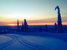 Snowmobiling in Levi Ski Resort. Lapland, Finland