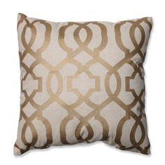 Pillow Perfect Geometric Gold/Linen 16.5-inch Throw Pillow | Overstock™ Shopping - Great Deals on Pillow Perfect Throw Pillows