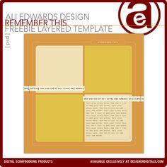 A free digital layered template and video tutorial on how to use them from one of my fav scrapbook designers, Ali Edwards!