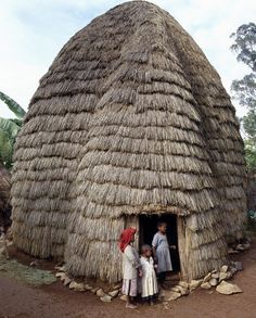 The Dorze people in highlands west of the Abyssinian Rift Valley have a unique style of building their homes. The 20-foot-high bamboo frame is covered with sheaths of bamboo stems or straw, and resembles a giant beehive. These remarkable houses can last for forty years or more.  Bamboo grows luxuriantly in Dorze country at over 9,000 feet.  Chencha, Gamo Gofa, Ethiopa by John Warburton-Lee