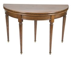 A French provincial demilune folding top card table. 30 H x 47 W x 23 D Fold Out Table, Demilune Table, Country Furniture, French Provincial, Neoclassical, Table Cards, Orlando, 19th Century, Victorian