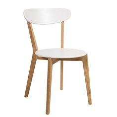 Gestell:       Eiche massiv, geölt   Sitzschale aus MDF-Platte, Rückenlehne aus Schichtholz, weiß lackiert
