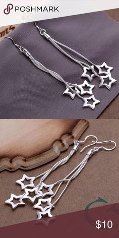 Dangling star earrings Silver plated dangling earrings Jewelry Earrings