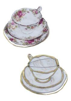 Miriam Rowe – Teacup brooch 2 – Plaster, brass, stainless steel brooch pin