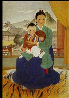 """Jang-wu seong, """"Madonna and Child,"""" 1949"""