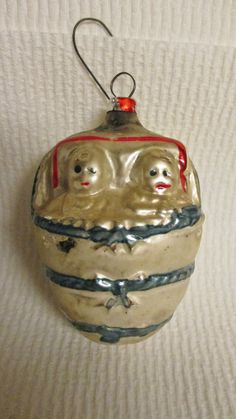 ANTIQUE MERCURY GLASS WEST  GERMANY CHRISTMAS ORNAMENT - BABIES in BED
