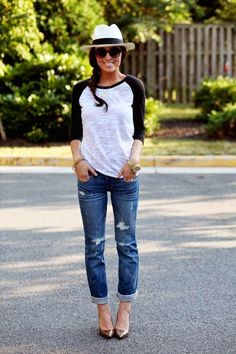 Jeans, black and white tee, black and white hat