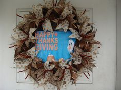 Only 45 Dollars...WHAT?  OLAF FROZEN Thanksgiving Fall Autumn Deco Mesh Door Wreath, Wall, Gift, Get Together, Party, Peanuts by JandJPrettyThings on Etsy
