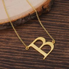 "Letter ""B"" Necklace, Sideways Initial Necklace, Alphabet necklace, Monogram necklace, Gold Necklace, Minimalist Necklace BN1034G3-B by LaurenSpencerJewelry on Etsy"
