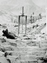 The head gate at Thunder Lake was used to control the flow of water released into North St. Vrain Creek. After the Lawn Lake flood in 1982, this structure
