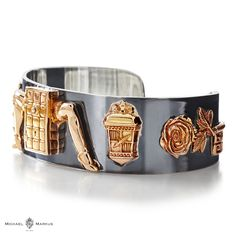 MILIEU - The door to the unknown keeps the secrets safe -  925 sterling silver cuff   18k rose gold elements   oxidized cuff